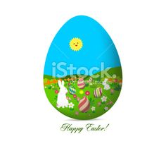 happy easter with eggs and bunny landscape Royalty Free Stock Vector Art Illustration