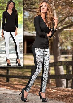 Black surplice top with Reversible print denim in snow leopard from VENUS. Top sizes XS-XL, and bottom sizes 2-16!