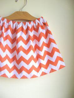 chevron skirt  orange and white  halloween  for by noahandlilah