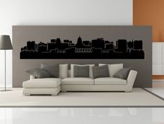 PREMIUM Madison Wisconsin City Skyline Interior Wall Decal WITHOUT Lettering.