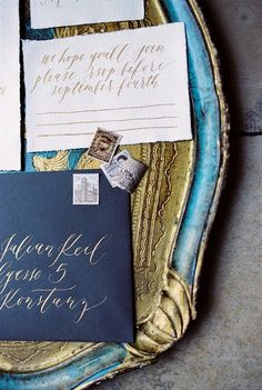 vintage gold and blue stationery