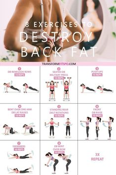 Get rid of your lower back fat. 8 exercises to get rid of lower back fat for women. This exercise group helps to work out your back whilst giving your abs a tough time. This hits your who Workout Routines For Women, Fitness Workout For Women, Fitness Pal, Yoga Fitness, Fitness Home, At Home Workouts For Women, Fitness Motivation, Health Fitness, Planet Fitness