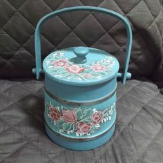 Sweet small, vintage, handpainted, wooden, Firkin, bucket.  Background done in a colonial blue with handpainted pink flowers with green and white