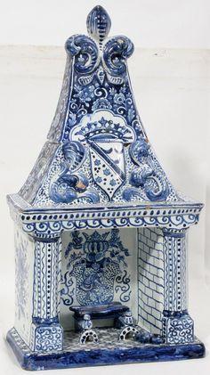 Blue Delft fireplace, dollhouse miniature.