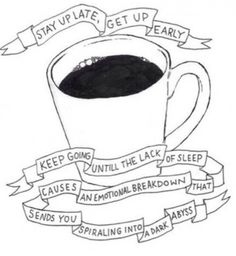 New post coming out soon is all about sleep and why we all need more of it! Otherwise, this doodled cup of coffee will become a reality...ew, don't want that to happen! I don't know about you, but dark abysses scare me!
