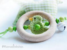 Greifling Beißring ♥Kleiner Piep♥ 2030 von Schnullerkette mit Namen auf DaWanda.com