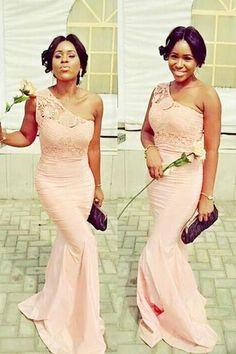 One shoulder Pink bridesmaid dresses, Long Mermaid bridesmaid dress, Chiffon bridesmaid dresses, Unique bridesmaid dresses, 17012