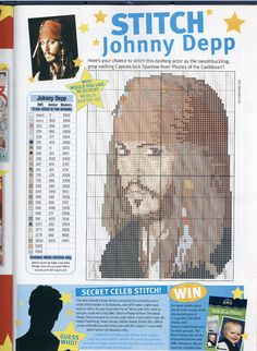 Johnny Depp Pirates of the Caribbean Captain Jack Sparrow cross stitch