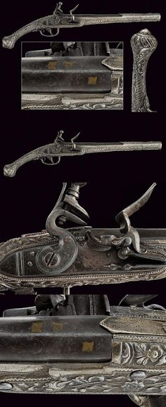A beautiful silver mounted flintlock pistol, dating: circa 1800  provenance: Greece