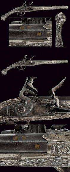 A beautiful silver mounted flintlock pistol, dating: circa 1800 provenance: Greece