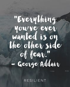 """""""Everything you've ever wanted is on the other side of fear."""" - George Addair"""