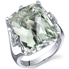 Royal Marvel 11.00 Carats Radiant Cut Green Amethyst Ring in Sterling Silver Rhodium Finish Size 5 to 9