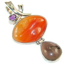 $85.25 Precious Design!! Brown Agate Sterling Silver Pendant at www.SilverRushStyle.com #pendant #handmade #jewelry #silver #agate
