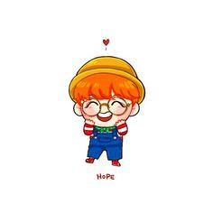 Imagem embutida Bts Chibi, Kpop Drawings, Cartoon Drawings, Leprechaun, Jung Hoseok, Yoonmin, Hope Art, Dibujos Cute, Bts Fans