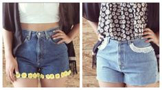 HTM: Shorts con flores de tela y encaje♡