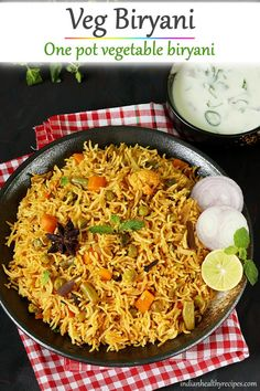 veg biryani is a one pot spicy rice dish made with basmati rice, mixed veggies, spices herbs. Vegetable biryani can be made in instant pot, regular pot or pressure cooker Lunch Snacks, Lunch Box Recipes, Vegetable Recipes, Vegetarian Recipes, Cooking Recipes, Healthy Recipes, Snack Box, Dinner Recipes, Cooking Basmati Rice