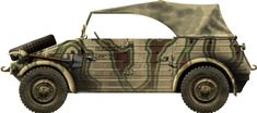 """Quite a famous ww2 liaison vehicle, the German VW type 82 Kübelwagen (""""bucket car"""") were seen on every front from 1939 to 1945 and had a long life postwar."""