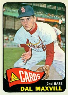 1965 Dal Maxvill, Second Base, St Louis Cardinals St Louis Baseball, St Louis Cardinals Baseball, Pirates Baseball, Stl Cardinals, Baseball Jerseys, Nfl Football, Baseball Stuff, Baseball Hat, Baseball Card Values
