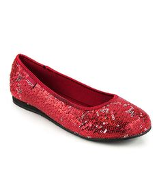 Take a look at the Red Sequin Sticky Rice Flat on #zulily today!