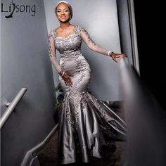 African Evening Dresses, African Lace Dresses, Latest African Fashion Dresses, Lace Evening Dresses, Lace Gowns, Lace Styles For Wedding, Lace Dress Styles, Dress Lace, Aso Ebi Lace Styles