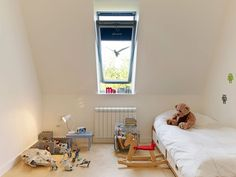 Velux window - block out blind note heater under window Bedroom Windows, Attic Window, Window Blocks, Residential Interior Design, Grand Designs, House Extensions, New Builds, Home Projects, Building A House