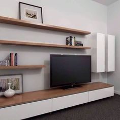 50 cool tv stand designs for your home tv stand ideas diy, tv stand ideas for living room, tv stand ideas bedroom, tv stand ideas black, tv stand ideas Floating Tv Stand Ikea, Oak Floating Shelves, Floating Cabinets, Floating Wall, Floating Tv Unit, Timber Shelves, Black Shelves, Wooden Shelves, Ikea Tv Stand