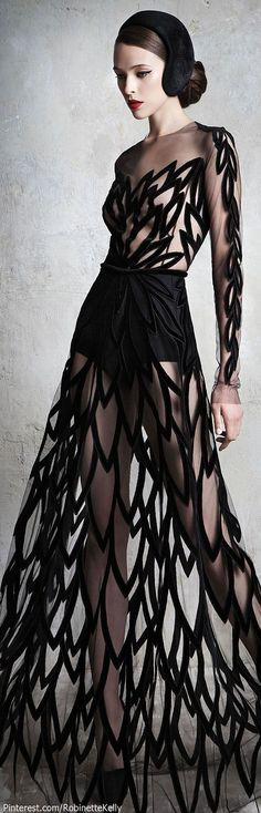 Wouldnt this look fabulous with a simple knee length canary yellow sheath under it? Yulia Yanina Couture | F/W 2013
