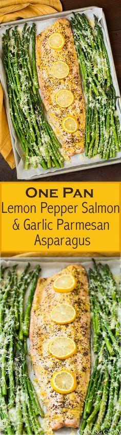 Get the recipe ♥ Lemon Pepper Salmon with Garlic Parmesan Asparagus /recipes_to_go/