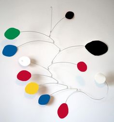 "MOD Art Mobile Sculpture 24""x26"" - retro hip cool Calder inspired modern hanging…"