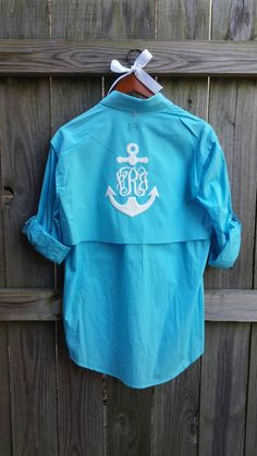 Monogrammed Fishing Shirt / Beach Cover-up Preppy by magnolialayne