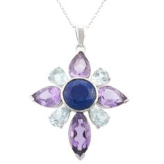 """Sterling Silver Amethyst, Blue Topaz and Sodalite Flower Pendant Necklace, 18"""" Amazon Curated Collection,http://www.amazon.com/dp/B005GYK6Q8/ref=cm_sw_r_pi_dp_DRK.rb0JK1ES403N"""