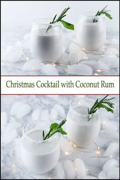 cocktails with coconut rum and mint make you dream of a white sand Christmas on the beach. cocktails with coconut rum and mint make you dream of a white sand Christmas on the beach. Best Christmas Cocktails, Christmas Drinks Alcohol, Festive Cocktails, Holiday Cocktails, Christmas Parties, Christmas Sangria, White Cocktails, Christmas Recipes, Drinks Alcohol Recipes