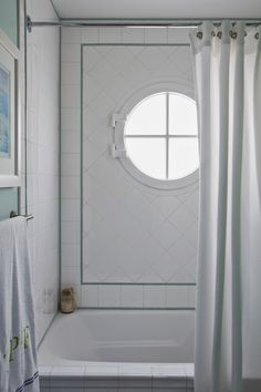 House of Turquoise: Brittney Nielsen Interior Design, San Diego beach house bathroom with port hole window