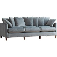 Anchor your den or living room ensemble with this essential sofa, featuring neutral-hued upholstery and black walnut-finished legs.