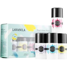 LAVANILA Must-Have Minis Deodorant Set (37 CAD) ❤ liked on Polyvore featuring beauty products, bath & body products and deodorant
