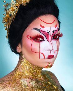 Geisha Makeup, Edgy Makeup, Mask Makeup, Makeup Art, Character Makeup, Makeup Tattoos, Halloween Makeup Looks, Fantasy Makeup, Creative Makeup