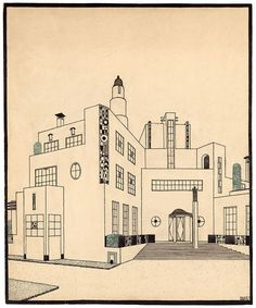 Architectures de papier : dessins de Piranèse à Mallet-Stevens, jusqu'au 21 juin 2015 au Musée Nissim de Camondo / Robert Mallet-Stevens (1886-1945), Projet de maison de campagne pour Jacques Doucet, vers 1924 © Les Arts Décoratifs, Paris: