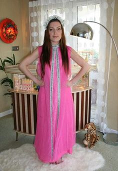 Vintage Flamingo pink maxi festival dress from What Alice Found