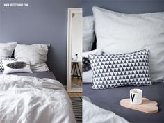 Nicest Things: Bedroom Boxspring Bed Grey Wall Pillows Cushions // Snug Studio / Design Letters / Ferm Living / Bloomingville