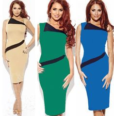 New 2014 women blue/green/beige/black bodycon bandage dress,brand sexy evening cocktail dresses plus size S- XL Free shipping $27.30