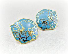 Vintage Aqua Blue & Gold Earrings, Cloisonne Enamel Earrings, Butterfly Flower Earrings, Post Earrings, 1980s Art Nouveau Jewelry by RedGarnetVintage, $8.00
