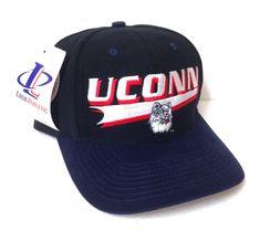 069fc3eeb8e378 New Rare Vtg 90s UCONN HUSKIES HAT Black&Blue SemiCurved Bill Snapback Men/ Women #LogoAthletic #UConnHuskies