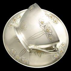Large Antique Art Nouveau French Sterling Silver Gilt Vermeil Repousse from theantiqueboutique on Ruby Lane