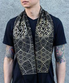 a99f093d7be2e Vitality Unisex Infinity Scarf   Sacred Geometry Festival Clothing   Bamboo  + Organic Cotton Hood