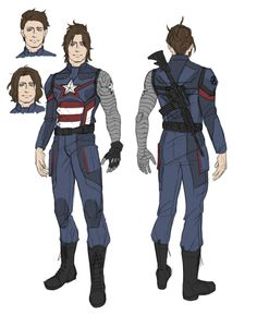 I designed Bucky a Captain America suit! With four different hairstyles because I couldn't decide which I liked more. Marvel Comic Universe, Marvel Art, Marvel Cinematic Universe, Marvel Avengers, Marvel Comics, Captain America Costume, Captain America And Bucky, Bucky Barnes, Winter Soldier Bucky