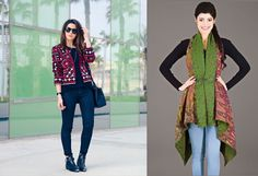 Find a nice ethnic jacket or stole with block prints or tribal prints, you can also find jackets or shrugs with Rajasthani style embroidery. #theroyale #fashion