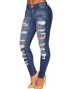 Fabric: denim Distressed details Regular rise Zip fly Five pocket styling Slim…
