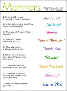 "Manners worksheet for ""respect myself and others"" Daisy Petal"