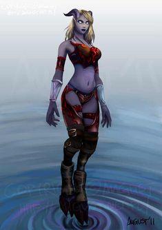 Full character's name - Lesaka 'Saki' Cyri-Lo Dre'veis Kai'enna Commission for *Katrica , her Role-Playing World of Warcraft character. World Of Warcraft Game, World Of Warcraft Characters, Warcraft Art, Fantasy Characters, Draenei Female, Wow Draenei, New Fantasy, Fantasy Women, Dark Fantasy Art