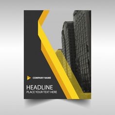 Geometric brochure with yellow lines Free Vector